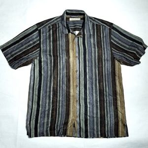 TOMMY BAHAMA 100% Silk Shirt Striped Short Sleeve